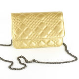 Woman leather bag gold color Stock Photo