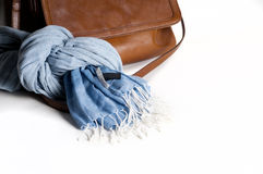 Woman leather bag with scarf closeup isolated on white. Light br Stock Photos