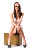Woman with leather case Royalty Free Stock Images