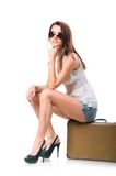 Woman with leather case Royalty Free Stock Photos