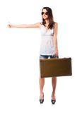 Woman with leather case Royalty Free Stock Image