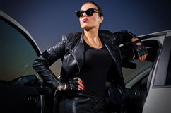 Woman in leather clothes Royalty Free Stock Photos