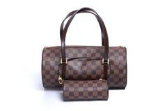 Woman leather handbag isolated white background Royalty Free Stock Photo