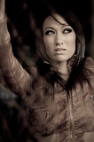 Woman in leather jacket Royalty Free Stock Photography