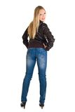 Woman in leather jacket Stock Photography
