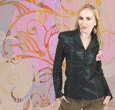 Woman in leather jacket Stock Photo