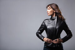 Woman in leather jacket Royalty Free Stock Images