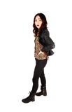Woman in leather jacket. Royalty Free Stock Photography