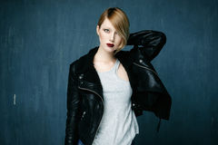 Woman in a leather jacket Stock Photos