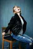Woman in a leather jacket Royalty Free Stock Images