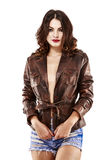 Woman in leather jacket. Beautiful and sensual woman in leather jacket Stock Photo