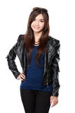 Woman in leather jacket Stock Image
