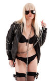 Woman in leather jacket with a chain Royalty Free Stock Photos