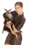 Woman leather jacket kangaroo both look Royalty Free Stock Image