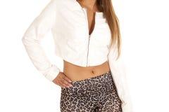 Woman leather jacket printed pants Stock Photo