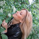 Woman in leather jacket Royalty Free Stock Photos