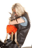 Woman in leather with kangaroo royalty free stock photo