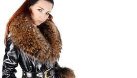 Woman in leather overcoat Royalty Free Stock Photos