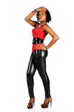 Woman With Leather Pants Standing Stock Images