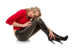 Woman in leather shoes Royalty Free Stock Photo