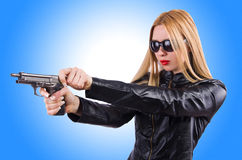 Woman in leather suit Stock Photography