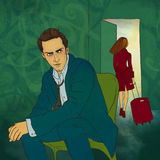 Woman leaves her man. Illustration. Royalty Free Stock Image