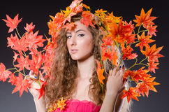 Woman with leaves in nature concept Royalty Free Stock Photography
