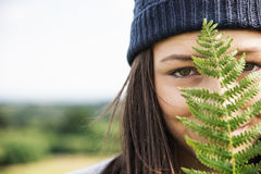 Woman Leaves Nature Environment Happiness Relaxation Concept Royalty Free Stock Image