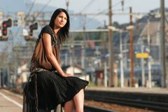 Woman leaving on a journey stock photos
