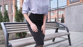 Woman Leaving for Office after Relaxing on Bench Outdoor stock video footage