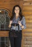 Woman in lederhosen stock images