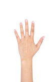 Woman left hand showing the five fingers. Stock Image