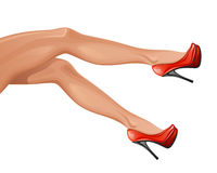 Woman leg. In red shoes on a white background Stock Image