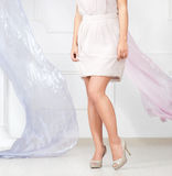 Woman leg and flying silk Stock Image