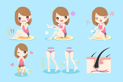 Woman with leg hair. Cute cartoon woman with leg hair problem before and after Stock Photos