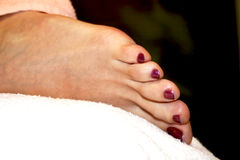 Woman leg with a pedicure. Young woman leg with a pedicure Royalty Free Stock Photo