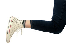 Woman leg in sport shoe Royalty Free Stock Photos