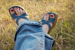 Woman legs 02. Woman legs on the grass Stock Photography