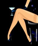 Woman legs. Walking in black shoes Vector Illustration