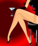 Woman legs. Walking in black shoes Royalty Free Illustration