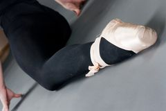 Woman legs with ballet slippers Stock Photography