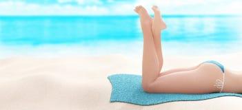 Woman legs on the beach, holiday, 3d render Stock Photos