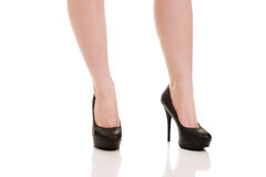 Woman legs with black sexy shoes. . Stock Image