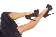 Woman Legs Blue Dress Heels Lay Royalty Free Stock Image