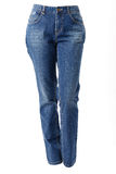 Woman legs in blue jeans Stock Photos
