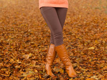 Woman legs in brown boots. Fall fashion Royalty Free Stock Photo