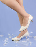 Woman Legs With  Classic White Shoes Stock Photos