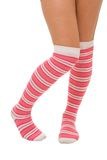 Woman legs in color pink socks isolated Stock Photos