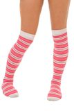 Woman legs in color pink socks isolated Royalty Free Stock Photos