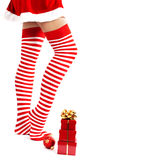 Woman legs in color red socks Royalty Free Stock Photos